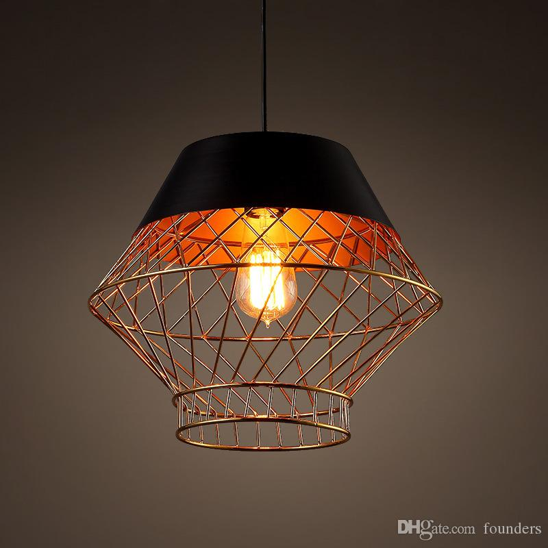 Nordic LED hanging lighting wrought iron bird cage pendant lights industrial retro living room lamps restaurant bar lighting