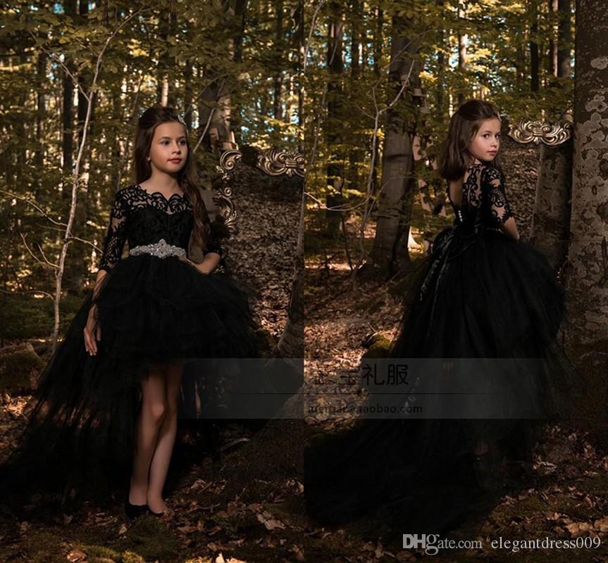 2019 Black Glitz Little Girls Vestidos de disfraces Cuello de joya Apliques Hi-lo Vestidos de concurso para niñas Vestidos de cumpleaños para niñas Vestidos de cumpleaños