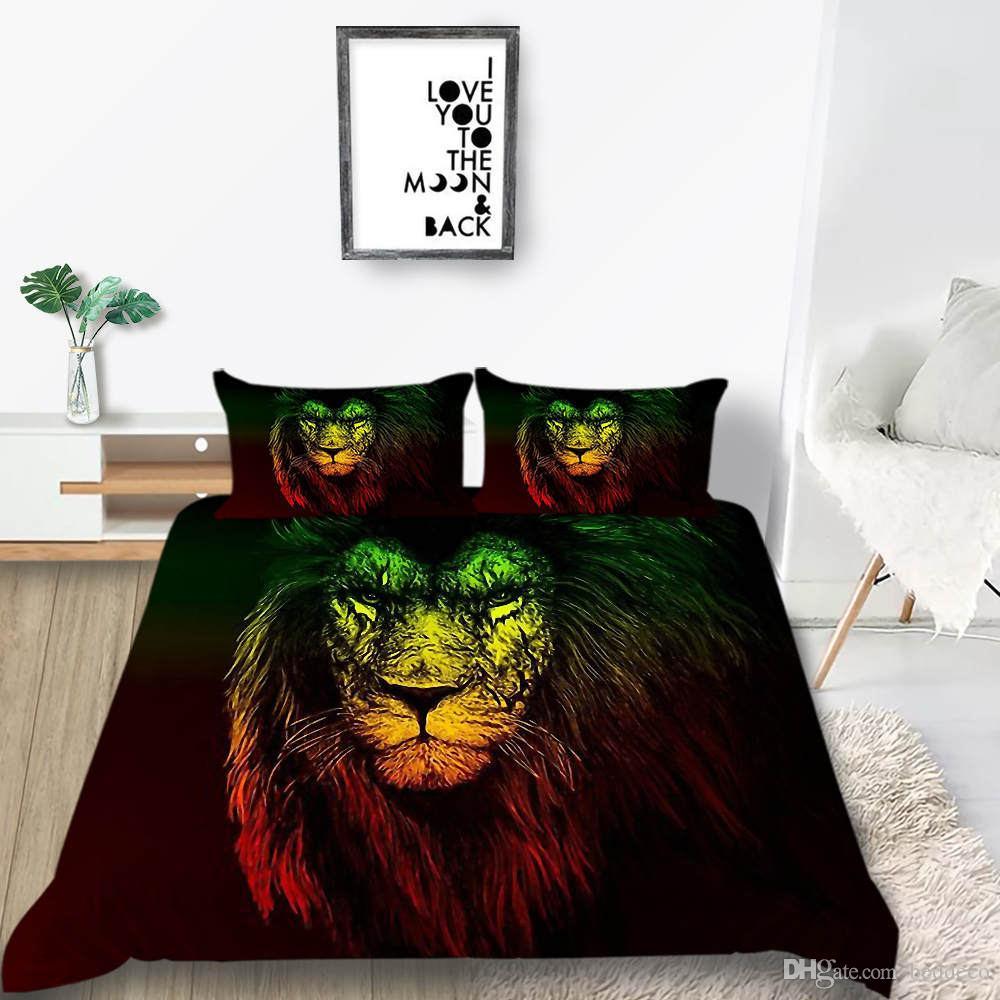 사자 머리를 침구 세트 형광 유행 멋진 예술의 깃털 이불 덮개 여왕의 왕 쌍 전체 하나의 더블 침대 덮개와 베갯잇