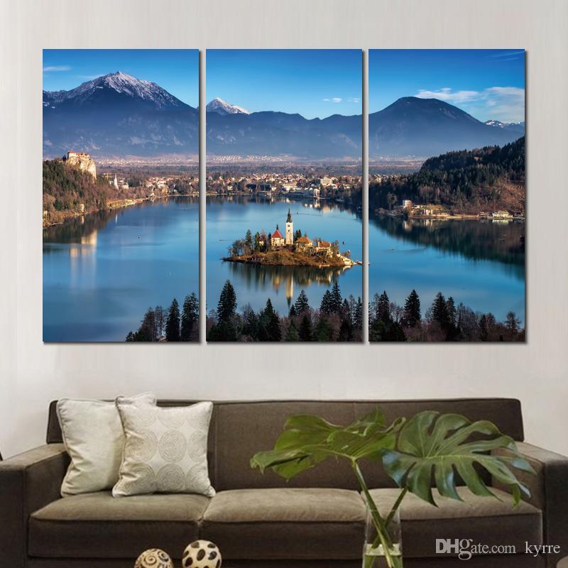 Affiche d'art impression sur toile slovenia bâtiments radovljica rivière 3 set peintures murales pour la décoration