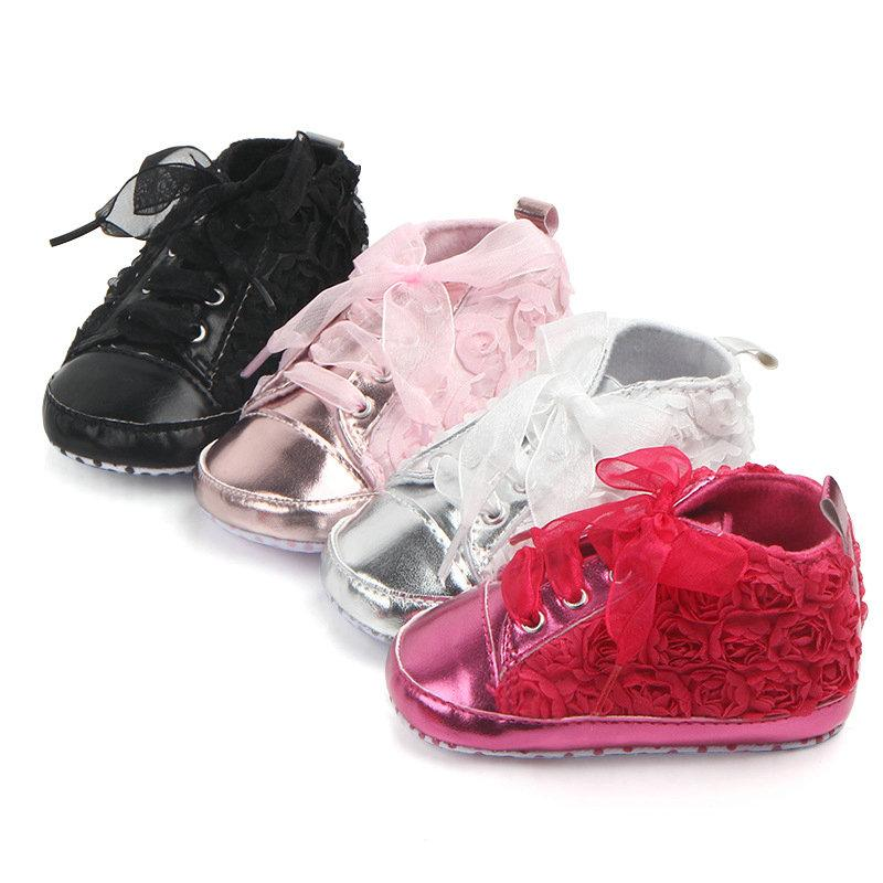 طفل بنات الخريف أحذية أحذية طفل وحيد لينة الوردي الزهور الأطفال أحذية الرباط الرضع
