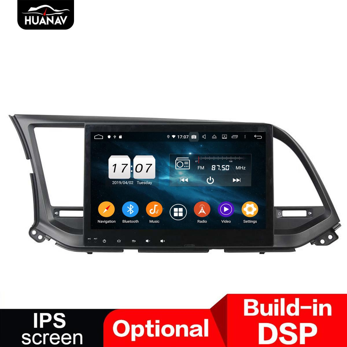DSP 안드로이드 9.0 자동차 GPS 네비게이션 없음 DVD 플레이어 현대 Elantra 2016 자동차 라디오 플레이어 멀티미디어 스테레오 헤드 단위 테이프 NAV