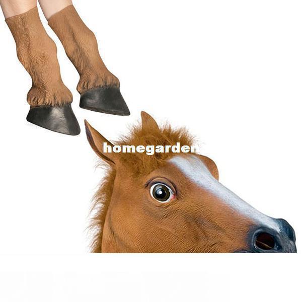 Chegada Nova! Máscara De Cavalo De Látex Arrepiante E Pés De Cavalo Teatro De Máscaras De Halloween Prop Brown