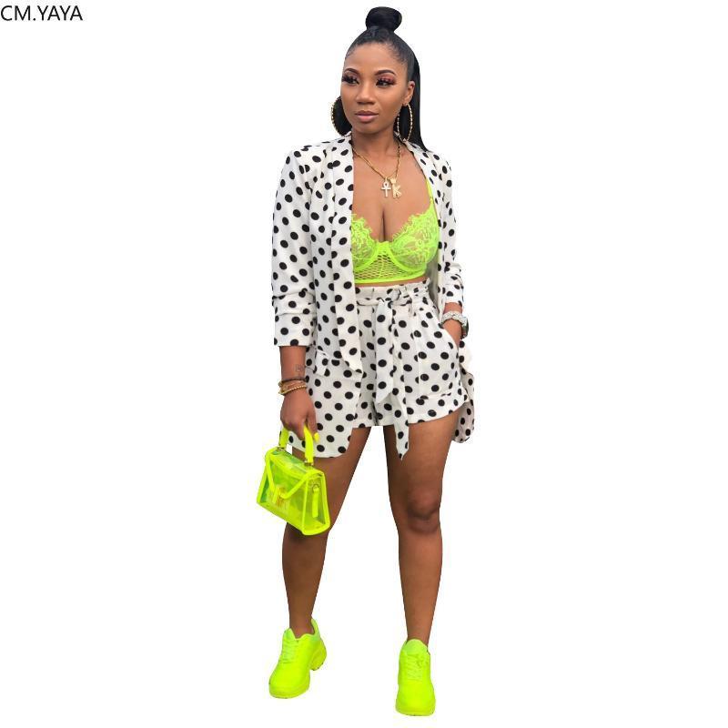 2019 новый осенний точечный принт женский комплект с длинным рукавом длинные блейзеры шорты костюм из двух частей набор винтажный спортивный костюм наряд 2 цвета GL9165