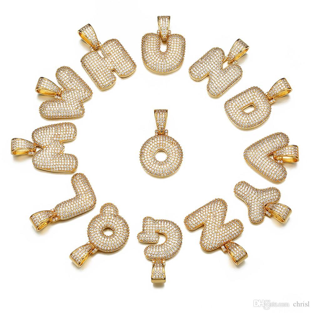 Bling Men's Hip Hop Jewley Gold Silver Color Copper Cubic Zirconia Custom Name Bubble Letters Pendant Necklace