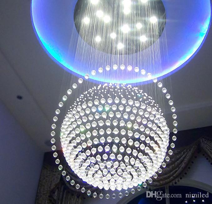 شحن مجاني كبير الحديثة كريستال الثريا درج بهو غلوب الثريا ضوء الإضاءة وشملت المصابيح llfa