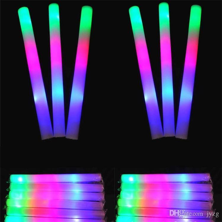 LED 다채로운 막대 주도 거품 스틱 점멸 거품 스틱, 빛 응원 글로우 거품 스틱 콘서트 라이트 스틱