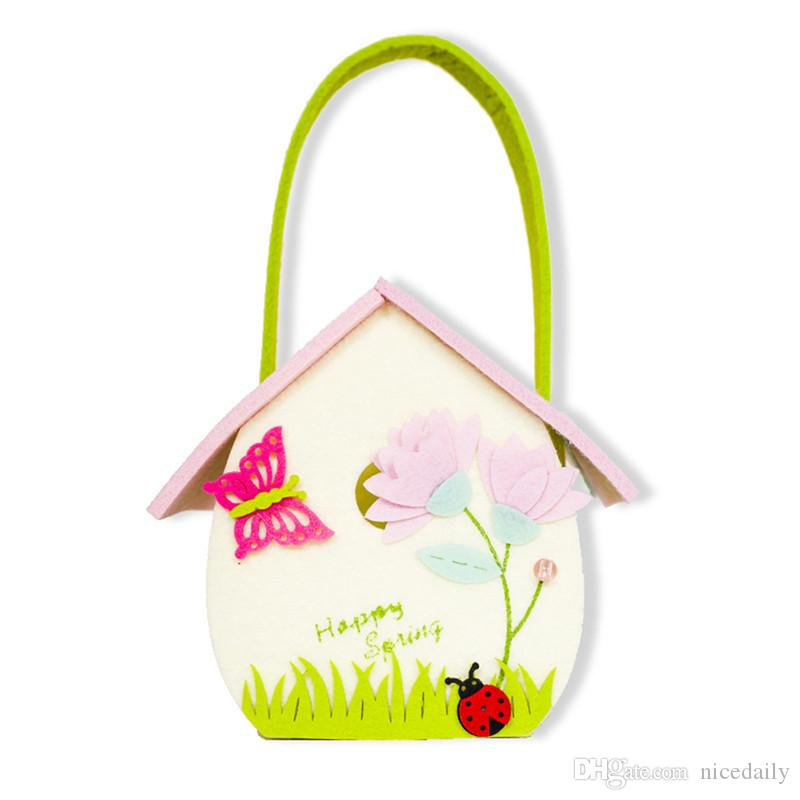 Carino Pasqua Decorazione per feste Forniture per bambini Candy Egg Toy Regalo Storage Bag Borsa Easter Egg Coniglio Fiore Borsa Home Decor supporto Wholes