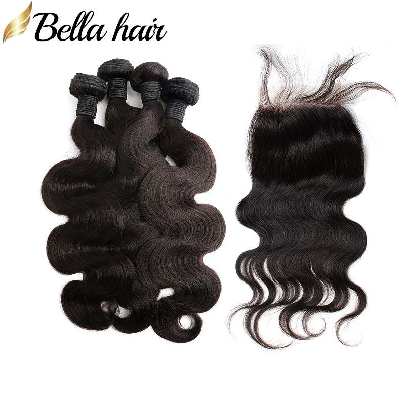브라질 버진 인간의 머리카락 폐쇄 4pc 머리 위사 + 1pc 레이스 폐쇄 4x4 바디 웨이브 헤어 확장 5pcs Bellahair