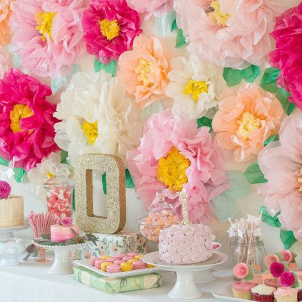 Pas cher Party DIY Décorations Set de 3 Papier de soie Pom Pom fleur étamine Chrysanthème fleur Centerpiece Tea Party Anniversaire de mariage baby shower