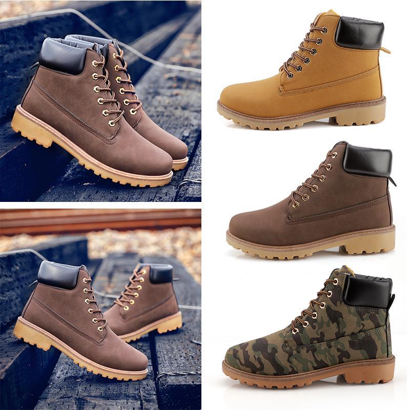 Nueva marca de zapatillas al por mayor de moda de los hombres de las mujeres Martin botas para no zapatos de cuero ocasionales del tamaño Negro Amarillo 39-46