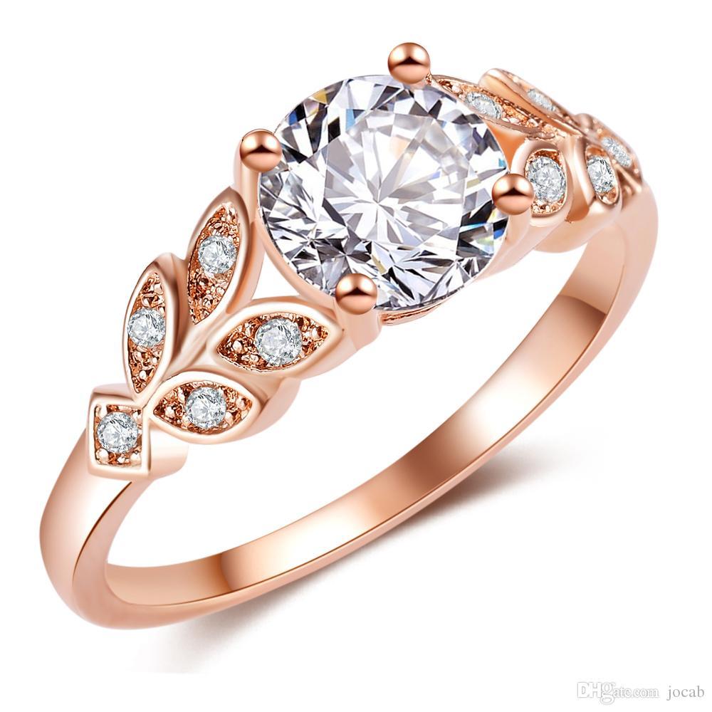 2019 hochzeit Kristall Silber Farbe Ringe Blatt Engagement Gold Farbe Kubikzircon Ring Mode Neue Marke Bijoux Für Frauen Schmuck