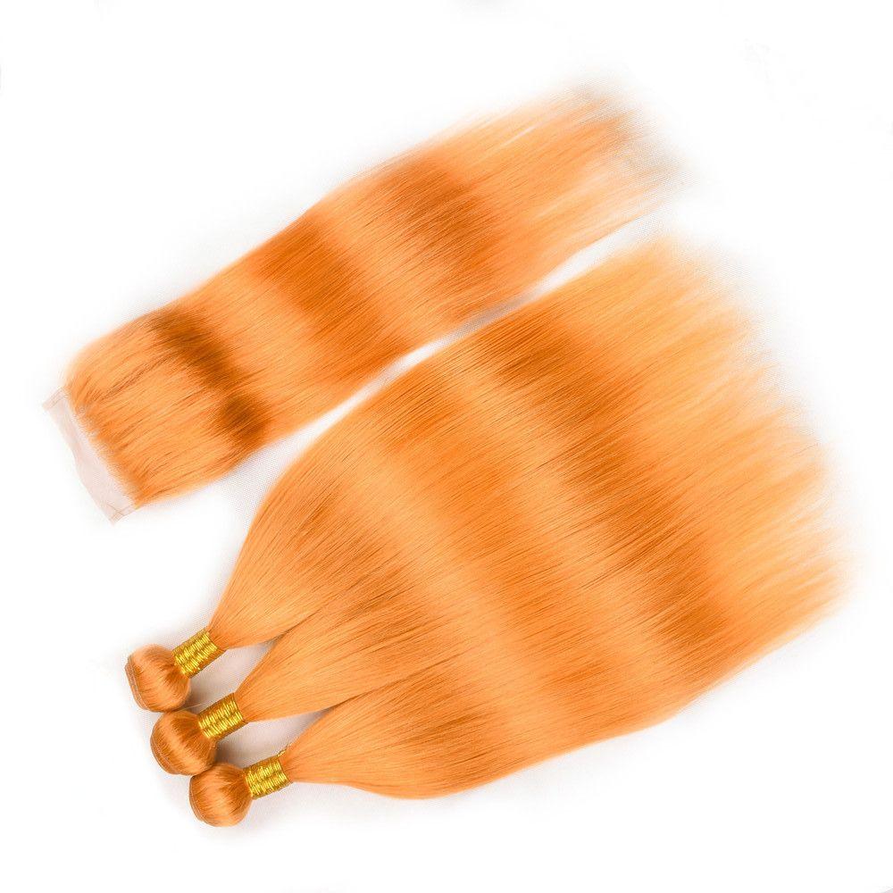 Reines orange indische Menschenhaar-Tressen 3Bundles mit Top Closure 4Pcs Lot Gerade Orange Colored Menschliches Haar Weaves mit 4x4-Spitze-Schliessen