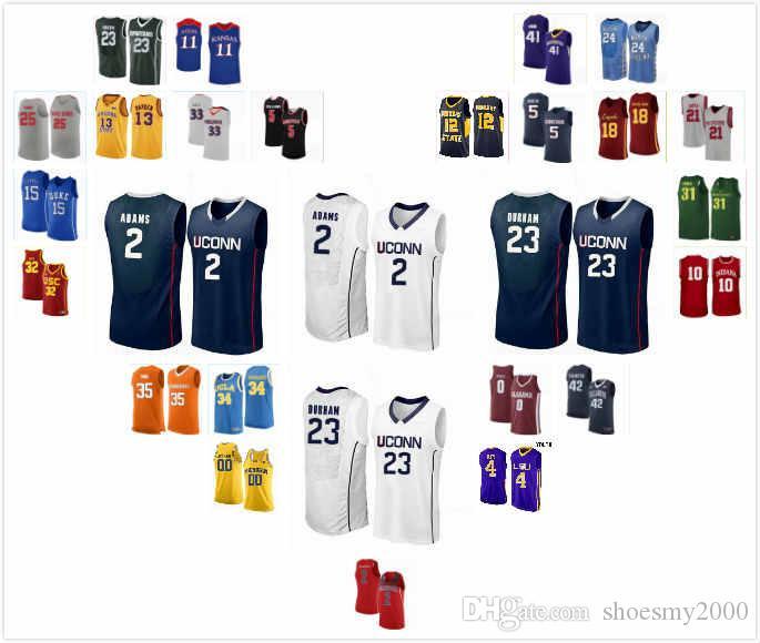 Özel UConn Huskies Akok Akok Jersey 23 Josh Carlton 25 Jalen Gaffney 0 James Bouknight 2 Matt Garry 41 Basketbol Formalar Dikişli S-3XL