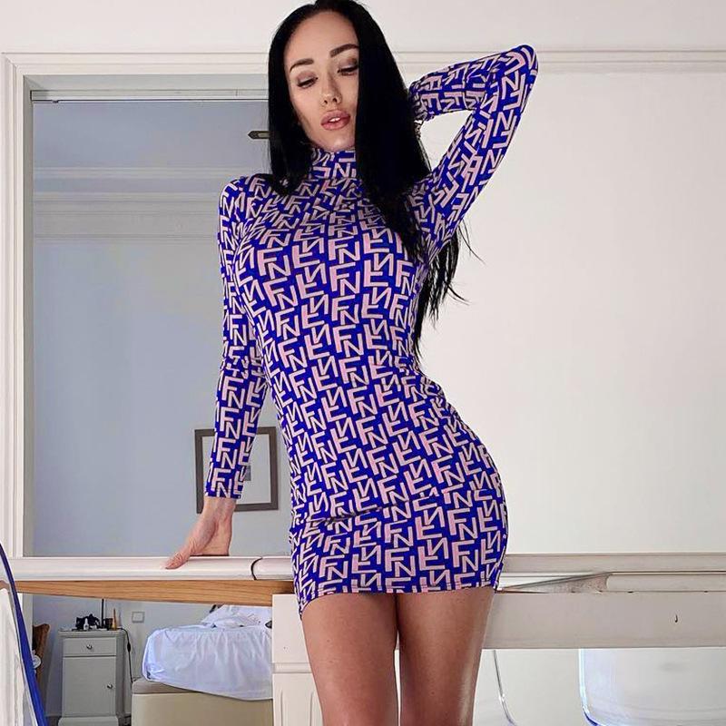 vestido 2020 nueva tendencia de las mujeres de moda de Europa y América impreso de manga larga de las señoras atractivas delgadas del vestido del tamaño S-L