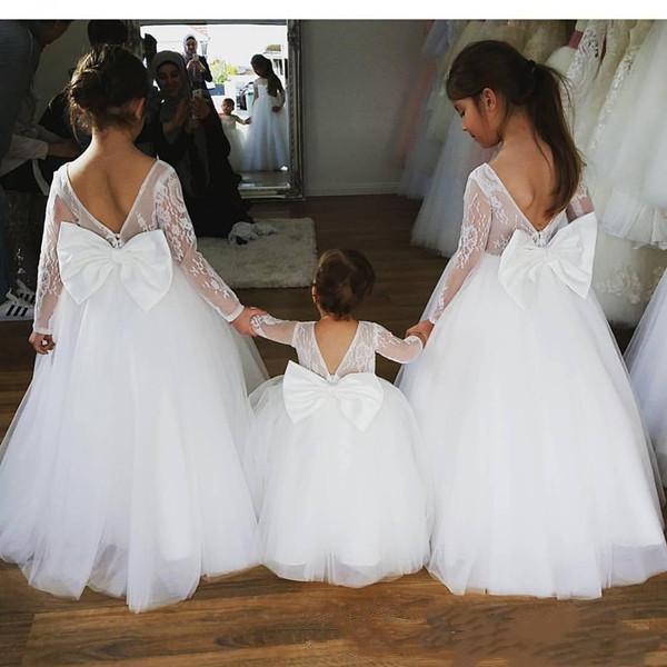 2020 nouvelle dentelle Manches longues robes fille fleur élégante princesse Jewel cou Bow Sash longues robes de soirée pour enfants Filles Robes de fête d'anniversaire