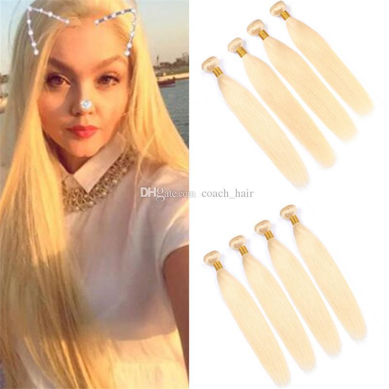 Дешевые прямые светлые девственные индийские волосы Weave 4 пучка 400 г #613 платиновая блондинка человеческих волос двойные утки расширения 4 шт. лот