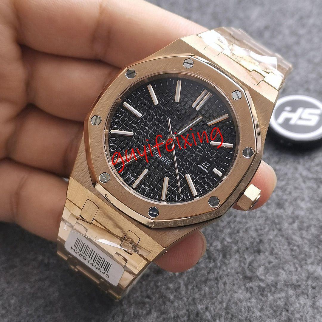 Высокое качество мужские роскошные часы Royal Oak 15400 15400ST 15407OR черный циферблат everose браслет из нержавеющей стали механизм с автоподзаводом водонепроницаемый 50 м