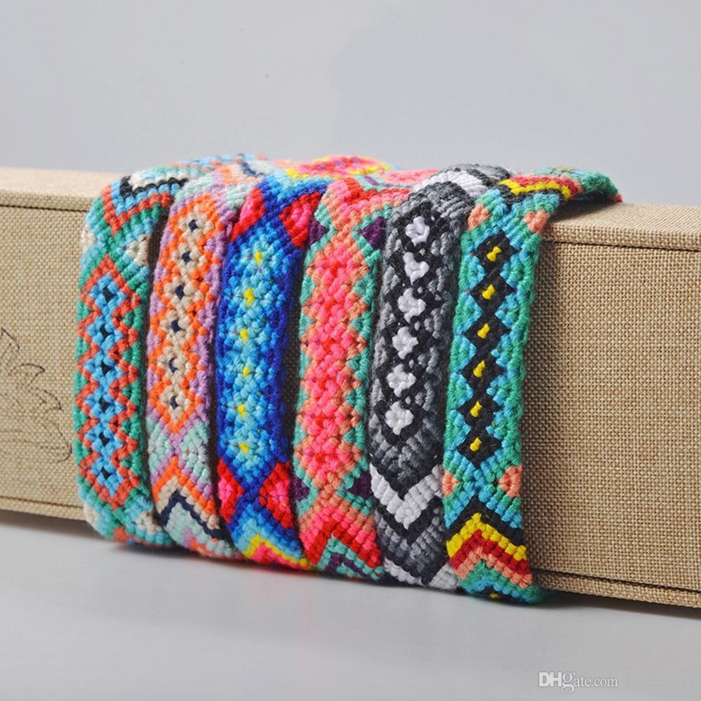 Moda india americana artesanías simples pulseras tejidas amuleto bordado carta pulsera caliente tendencia pulsera tejida a mano