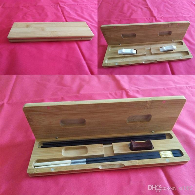 Древесина палочки для еды две пары двойки стойки экологически чистые портативные ящики для хранения твердые многоразовые с высоким качеством 14qh J1