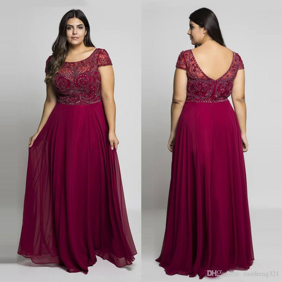 Burgundy Plus Size Prom Dresses Sheer Jewel Neck Chiffon Backless Evening  Gowns A Line Floor Length Long Beaded Formal Dress Beautiful Evening Gowns  ...