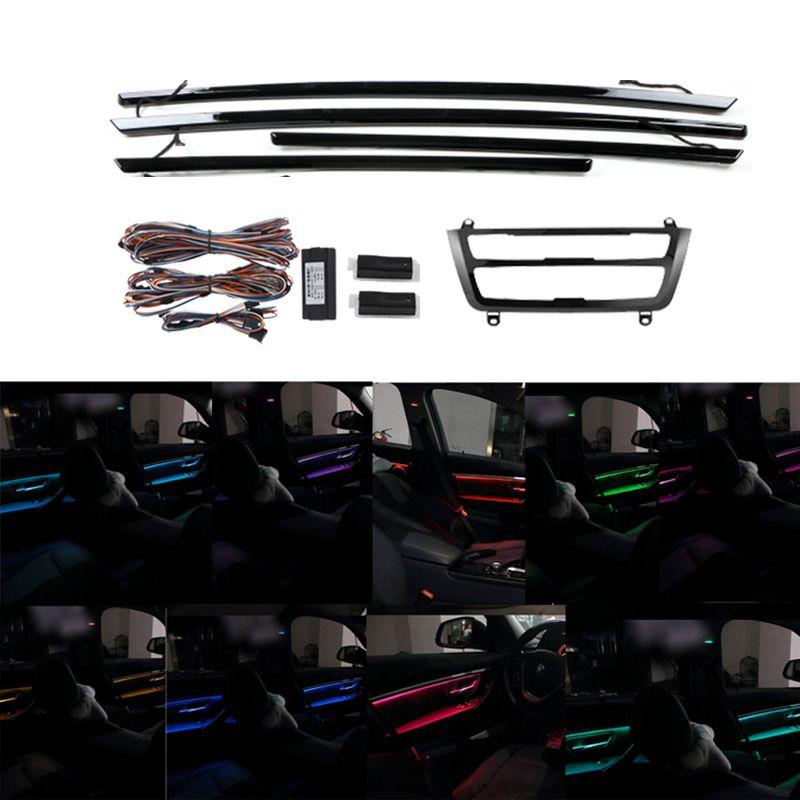 9/2 ألوان led ضوء السيارة المحيطة النيون الباب الداخلية لوحة ac لوحة الزخرفية ضوء الجو ضوء ل بي ام دبليو 3 سلسلة F35 2020-2013