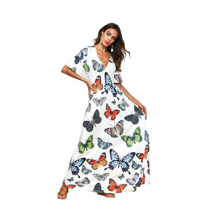 Manica corta Donne Farfalla V Neck vita in giù della spiaggia di estate vestiti casuali dalle signore di alta Wasit Abbigliamento