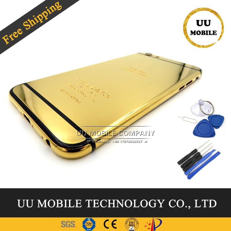 100% de garantía de buena calidad Chasis trasera puerta trasera cubierta para iphone 6 24 K oro puerta de la batería marco medio de la carcasa con botones