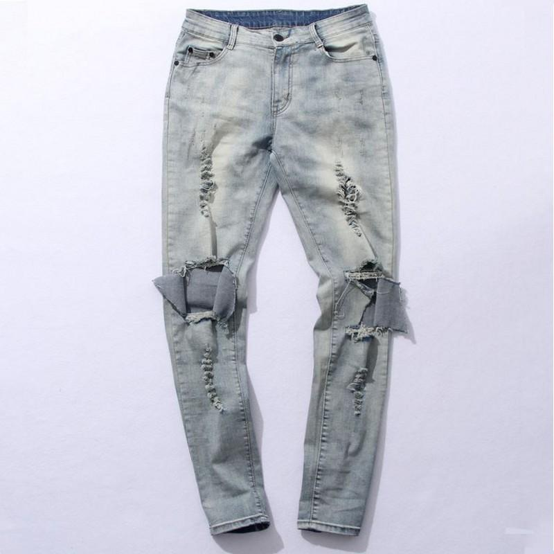 GMANCL Harajuku Ripped Jeans Mens Cotton Boots Jeans Men Blue Knee Hole Side Slim Ripped Distressed Skinny Denim Pants