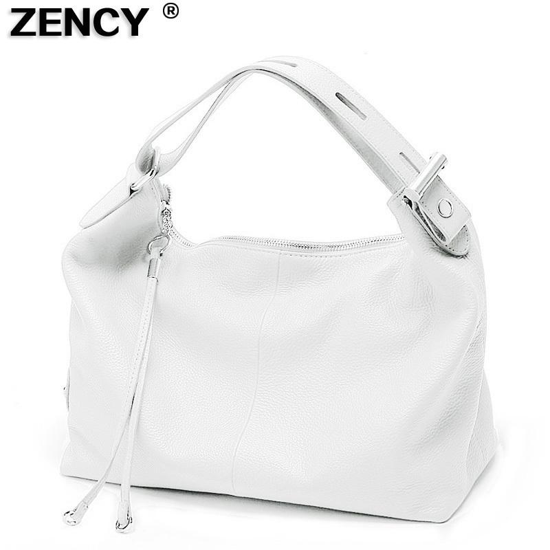 Zency 100% Soft Genuine Leather Women Handbag Top Handle Bag Real Cowhide Ladies Casual Tote Shoulder White Silver Gray Red Bags Y19052801