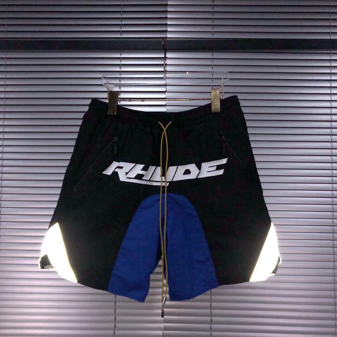 ABD 2020 Yeni Erkek Tasarımcı Rhude Plaj Pantolon 3M Yansıtıcı Renkli Logo Baskı Çift İpli Boks Günlük Spor Şort Pantolon Yazım