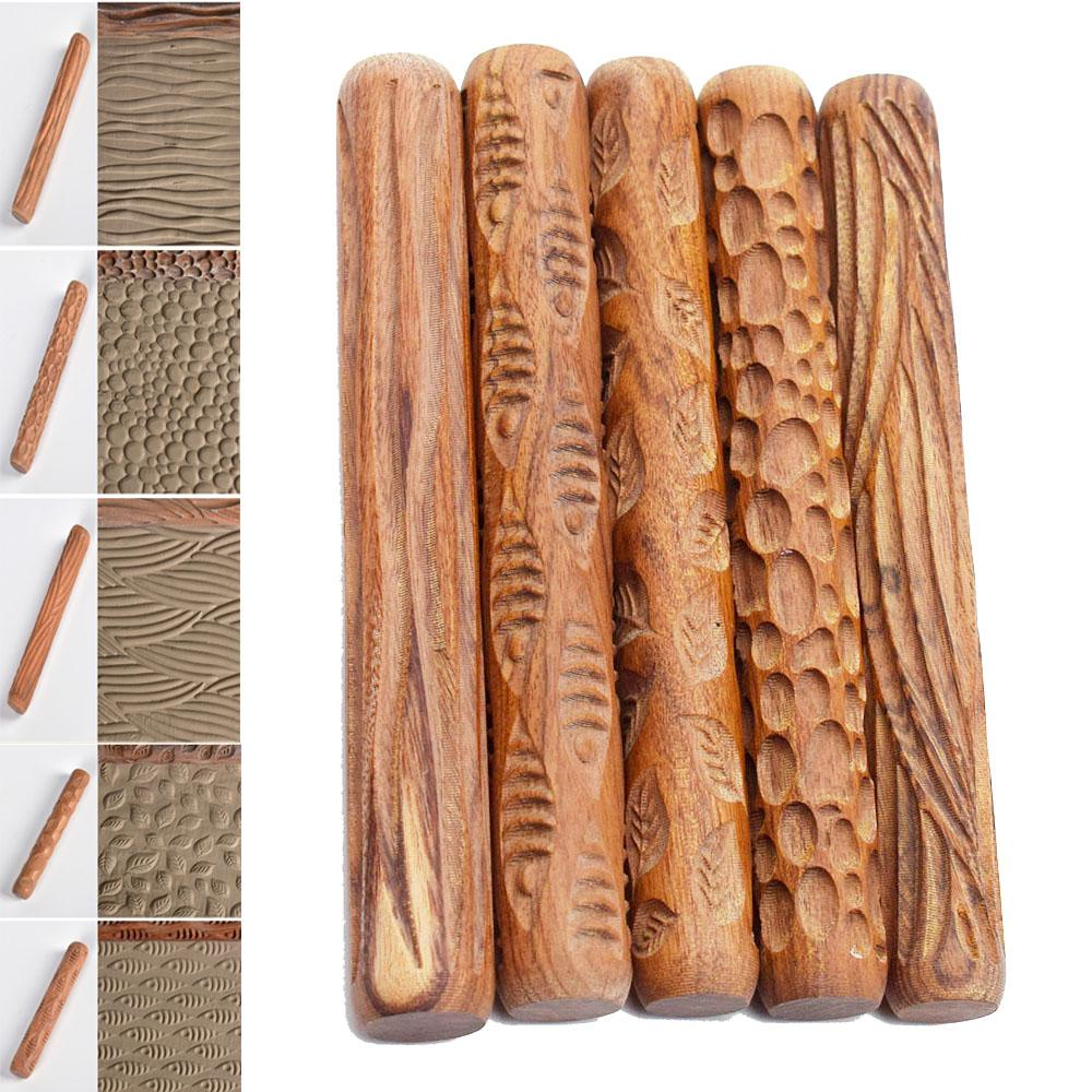2021 Pottery Clay Tools Wood Texture Rolling Pin Embossing Stick Bubble Fish Leaf Wave Pattern Ceramic Clay Tools From Shuzhanonline 12 82 Dhgate Com