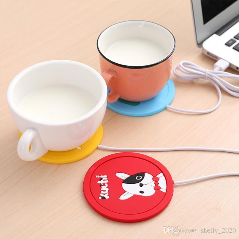 Cartoon Coffee Cup Alimentazione Ufficio USB del tè dello scaldino elettrico di riscaldamento in gomma morbida Coaster Protector Anti Calore di inverno