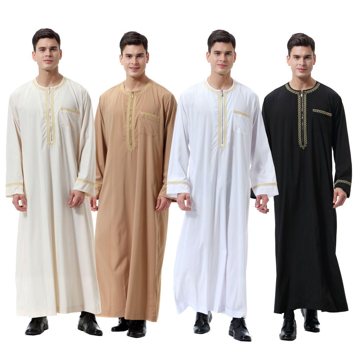 Homens Robes Roupas Muçulmanas Manga Longa Bordado Árabe Dubai Indiano Oriente Médio Homem Islâmico Jubba Thobe Plus Size 3XL DK756MZ