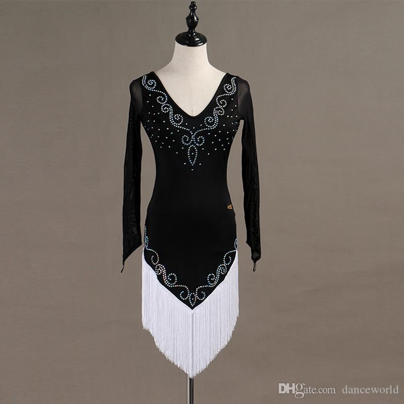 Özel Siyah Püskül Latin Dans Elbise Kadın / Bayan Rekabet Taşları Elbise Balo Salonu Cha Cha Salsa Rumba Dansçı Için Giyim S-XXL