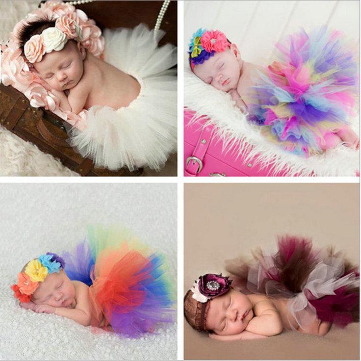 Юбка Newborn Tutu с подходящим цветочным повязок потрясающему новорожденному фото Опора девушка TUTU юбка