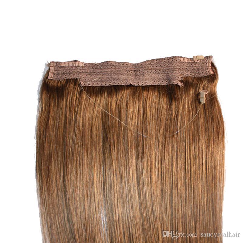 CER bestätigte brasilianisches Menschenhaar kein Klipp-Halo-Schlag in den Haar-Erweiterungen, 1pc 80G 100G einfacher Fisch-Linie Haar-spinnender Großhandelspreis