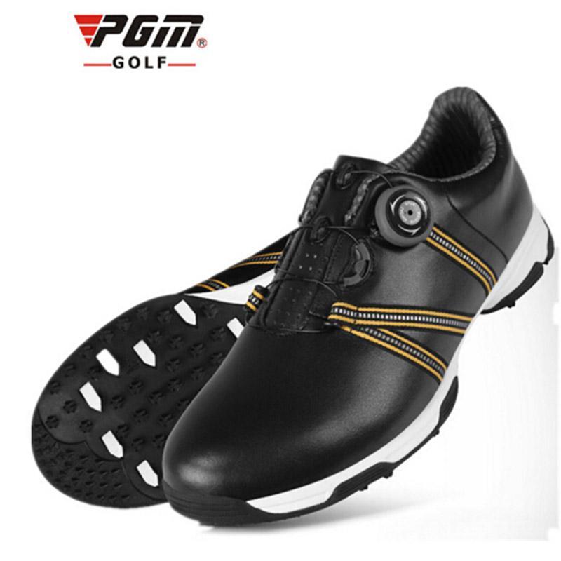 Homens couro macio de golfe sapatos respirável impermeável Sneakers Formação Ladies antiderrapante Spikes Golf sapatos de alta qualidade 51041