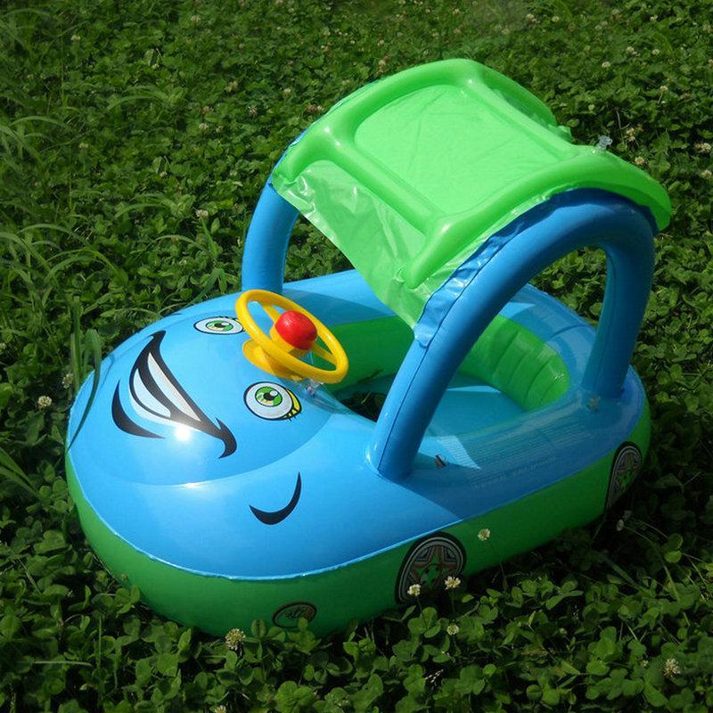 Crianças inflável Flutuador Assento do bebé do barco de natação Anel Com Toldo carro roda assento Direcção Água Toy Esporte Swim Pool Acessórios