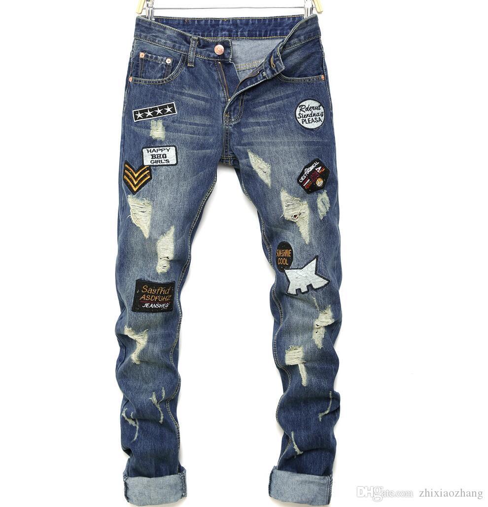cheap motorcycle jeans men Hole beggar badge blue Small straight biker jeans men trousers male denim pants masculino fashion designer
