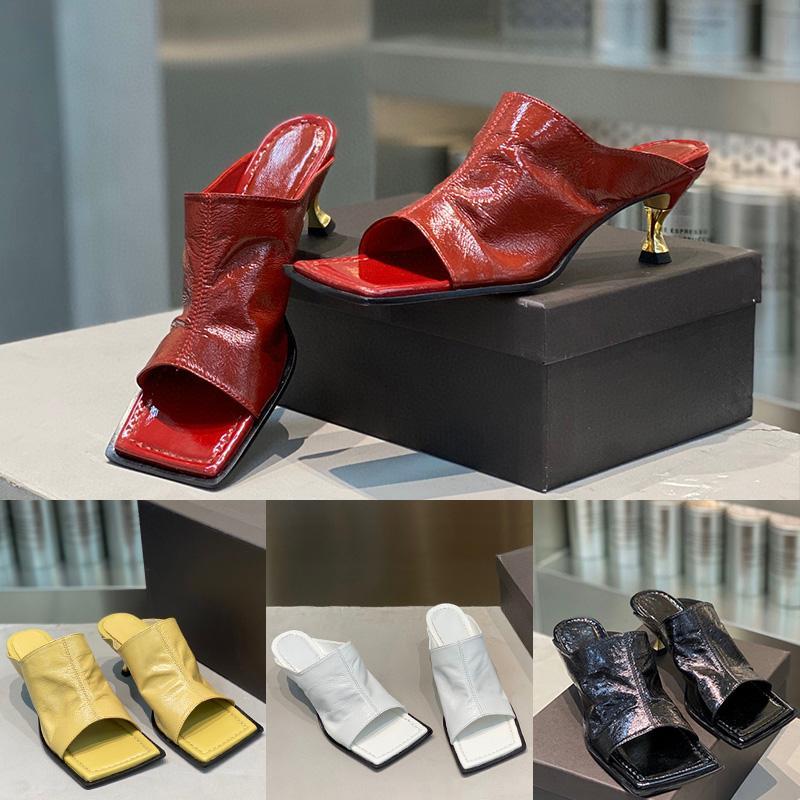 Womens Designer Hausschuhe LIDO Slides Luxus Hausschuhe High heels Strand Lammfell Weiß Maultiere Lederschuhe Top-Qualität mit Kasten Größe 35-40
