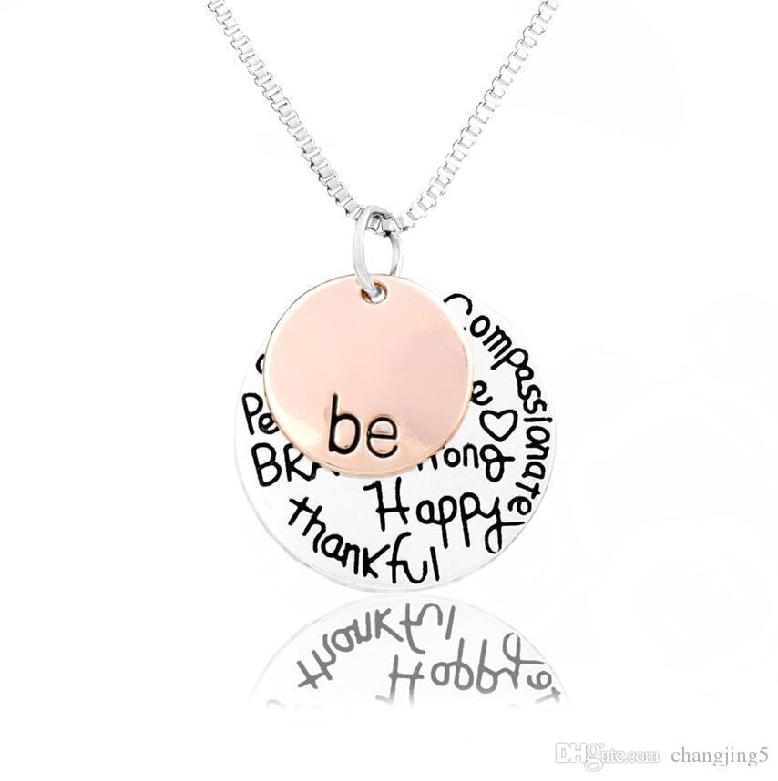 """""""Ser"""" Graffiti amigo Brave feliz fuerte Thankfull encanto de los collares pendientes de la aleación collar de la letra Venta caliente"""