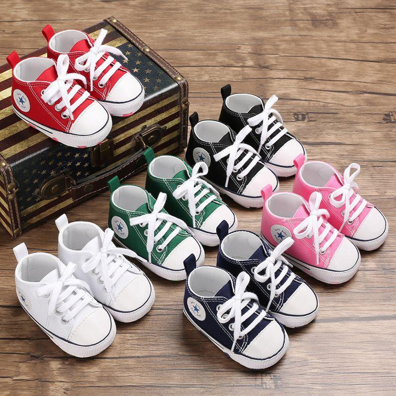Yeni Tuval Klasik Spor Sneakers Yenidoğan Bebek Erkek Kız İlk Walkers Ayakkabı Bebek Yürüyor Yumuşak Sole kaymaz Bebek ayakkabı