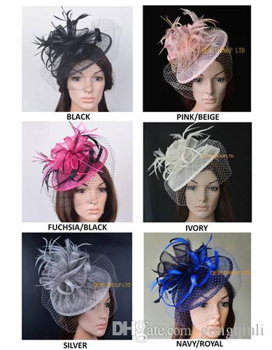 NUOVO DISEGNO Elegante copricapo di piume sinamay eleganti di alta qualità Kentucky Derby Royal cappello da sposa con velo