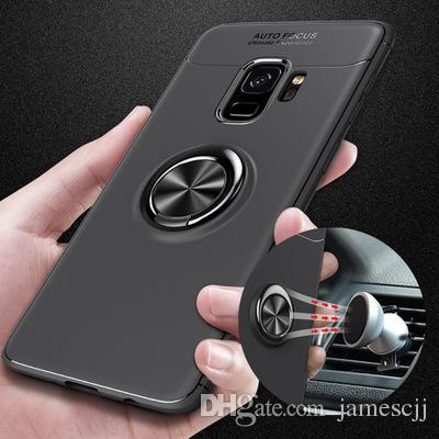 Manyetik Araç Montaj Parmak Yüzük Tutucu Sorunsuz Bir Arka Kapak TPU Cep Telefonu Kılıfı Koruyucu Samsung S8 S9 S10 Artı Not 8 9 Için Koruyucu Kapakları