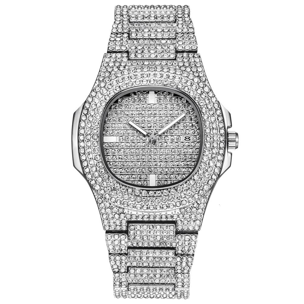 Role Hip Hop Watch Bling Diamond Watch Men Silver Steel Band Men's Business Quartz Wrist Watches Waterproof Relogio Masculino V191202
