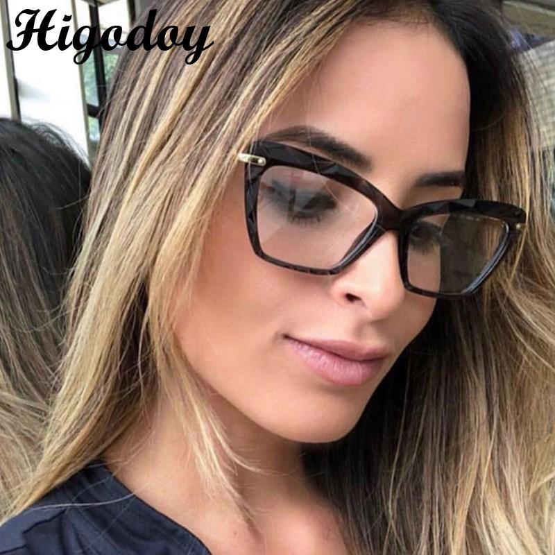 Higodoy Retro Transparent Women Metal Glasses Frame Myopia Computer Cat Eye Framework for Men Gafas De Sol Hombre Eyeglasses