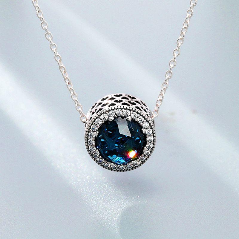 1pcs 크리스탈 펜던트 목걸이 여러 가지 빛깔의 돌 Fits Pandora 45cm + 8cm 체인 여성 여성 생일 Chirstmas 선물 N003