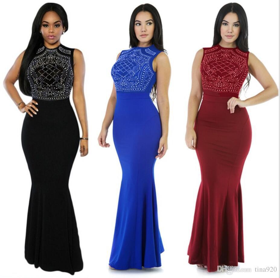 Elegant Mid-length Evening Dresses Mini Dress Bodycon Hot Drilling Long Sleeve Nightclub Bodycon Prom Dresses Party Dress Women Fahion Dress