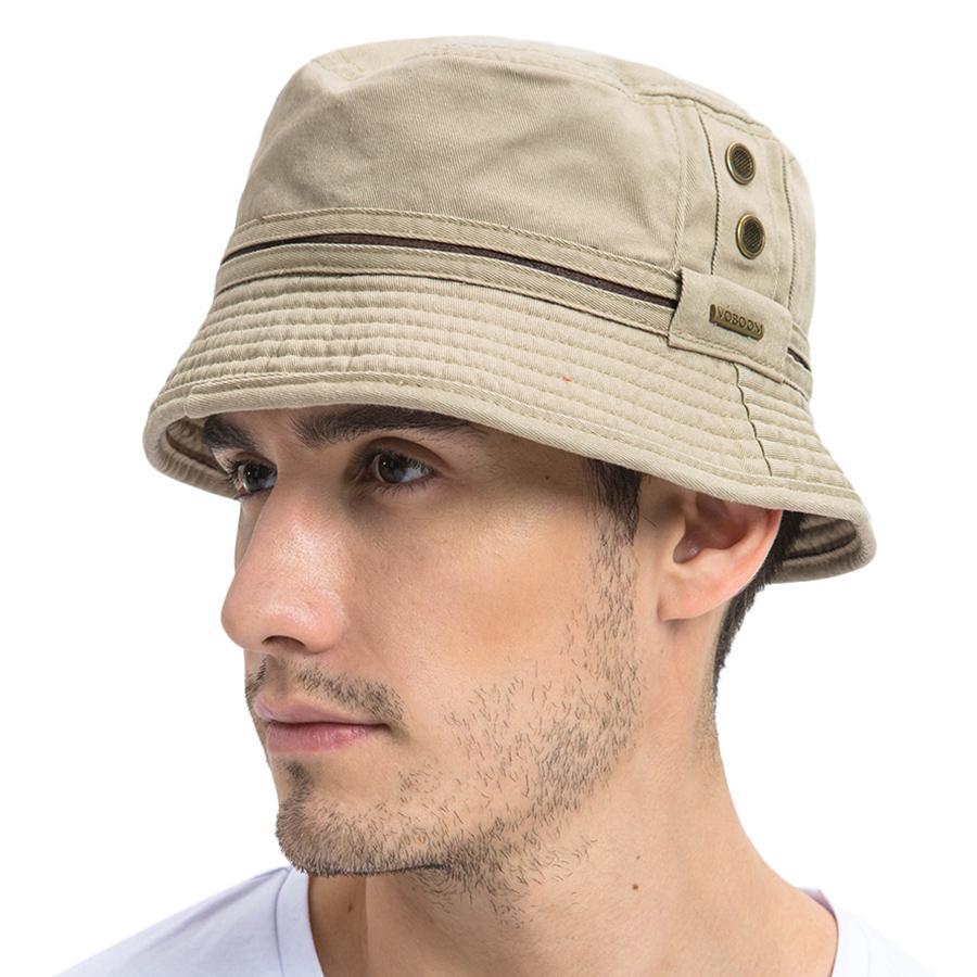 White M Plain Cotton Twill Bucket Hat